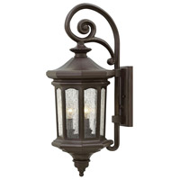 Hinkley 1604OZ Raley 3 Light 26 inch Oil Rubbed Bronze Outdoor Wall Mount in Candelabra, Clear Water Glass Panels