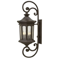 Raley 4 Light 42 inch Oil Rubbed Bronze Outdoor Wall Mount in Candelabra, Clear Water Glass Panels