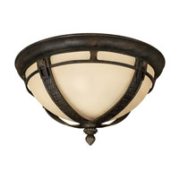 Hinkley 1613RB-GU24 Key West 1 Light 15 inch Regency Bronze Outdoor Flush Mount, Antique Vanilla Glass