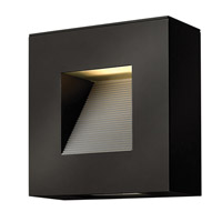 Hinkley 1647SK Luna 2 Light 9 inch Satin Black Outdoor Wall Lantern in Etched Lens, Compact Fluorescent
