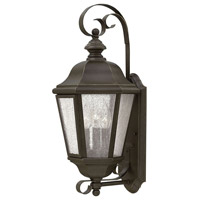 Hinkley 1670OZ Edgewater 3 Light 21 inch Oil Rubbed Bronze Outdoor Wall Mount in Incandescent, Clear Seedy Panels Glass