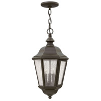 Hinkley 1672OZ Edgewater 3 Light 10 inch Oil Rubbed Bronze Outdoor Hanging Light in Incandescent, Clear Seedy Panels Glass