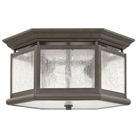 Hinkley 1683OZ Edgewater 2 Light 13 inch Oil Rubbed Bronze Outdoor Flush Mount, Clear Seedy Panels Glass