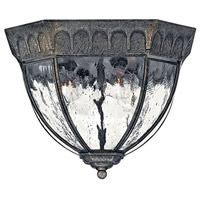 Regal 4 Light 12 inch Black Granite Outdoor Flush Mount