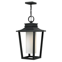 Hinkley Lighting Sullivan 1 Light Outdoor Hanging Lantern in Black with Etched Opal Glass 1742BK-LED