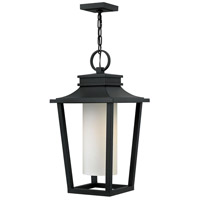 Hinkley Lighting Sullivan 1 Light Outdoor Hanging Lantern in Black with Etched Opal Glass 1742BK