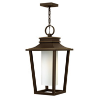 Hinkley Lighting Sullivan 1 Light Outdoor Hanging Lantern in Oil Rubbed Bronze with Etched Opal Glass 1742OZ-LED