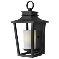 Hinkley 1744BK Sullivan 1 Light 18 inch Black Outdoor Wall Mount in Incandescent Etched Opal Glass