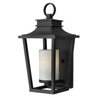 Hinkley Lighting Sullivan 1 Light Outdoor Wall Lantern in Black with Etched Opal Glass 1744BK-LED