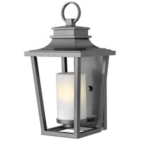 Hinkley Lighting Sullivan 1 Light Outdoor Wall Lantern in Hematite with Etched Opal Glass 1744HE-LED