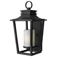 Hinkley 1745BK Sullivan 1 Light 23 inch Black Outdoor Wall Mount in Incandescent Etched Opal Glass