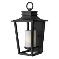 Hinkley Lighting Sullivan 1 Light Outdoor Wall Lantern in Black with Etched Opal Glass 1745BK-LED