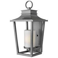 Hinkley Lighting Sullivan 1 Light Outdoor Wall Lantern in Hematite with Etched Opal Glass 1745HE-LED