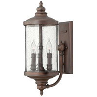 Barrington 3 Light 8 inch Victorian Bronze Outdoor Hanging Lantern, Clear Seedy Glass