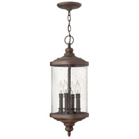 Hinkley 1752VZ Barrington 4 Light 9 inch Victorian Bronze Outdoor Hanging Lantern, Clear Seedy Glass