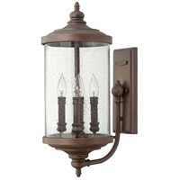 Barrington 4 Light 23 inch Victorian Bronze Outdoor Wall Mount, Clear Seedy Glass