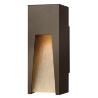 Hinkley 1760BZ-LED Kube 1 Light 12 inch Bronze Outdoor Wall in Amber Etched Organic Rain, LED
