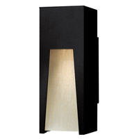 Kube 1 Light 12 inch Satin Black Outdoor Wall in Clear Etched Organic Rain, LED