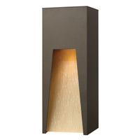 Hinkley 1764BZ-LED Kube 1 Light 16 inch Bronze Outdoor Wall in Amber Etched Organic Rain, LED