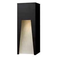 Hinkley 1764SK-LED Kube 1 Light 16 inch Satin Black Outdoor Wall in Clear Etched Organic Rain, LED