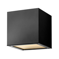 Hinkley 1766SK Kube 1 Light 6 inch Satin Black Outdoor Wall Lantern in Incandescent