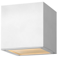Hinkley 1769SW Kube LED 6 inch Satin White Outdoor Wall Sconce, Small