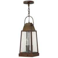 Sedgwick 3 Light 7 inch Sienna Outdoor Hanging Lantern, Clear Seedy Glass