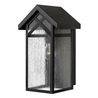 Hinkley 1790BK-GU24 Holbrook 1 Light 16 inch Black Outdoor Wall in GU24, Seedy Glass
