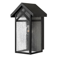 Hinkley 1790BK Holbrook 1 Light 16 inch Black Outdoor Wall in Incandescent, Seedy Glass
