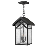 Holbrook 1 Light 11 inch Black Outdoor Hanging in GU24, Seedy Glass