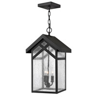 Hinkley 1792BK Holbrook 3 Light 11 inch Black Outdoor Hanging, Seedy Glass