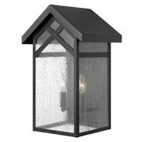 Hinkley 1794BK-GU24 Holbrook 1 Light 18 inch Black Outdoor Wall in GU24, Seedy Glass