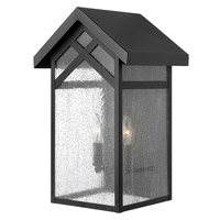 Holbrook 2 Light 18 inch Black Outdoor Wall in Incandescent, Seedy Glass