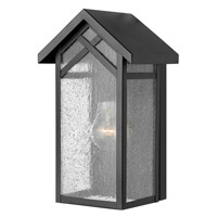 Hinkley 1797BK-GU24 Holbrook 1 Light 12 inch Black Outdoor Wall in GU24, Seedy Glass