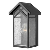 Hinkley 1797BK Holbrook 1 Light 12 inch Black Outdoor Wall in Incandescent, Seedy Glass