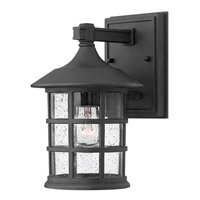 Freeport 1 Light 9 inch Black Outdoor Wall in Clear Seedy, GU24, Clear Seedy Glass