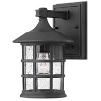 Freeport LED 9 inch Black Outdoor Wall Mount, Clear Seedy Glass