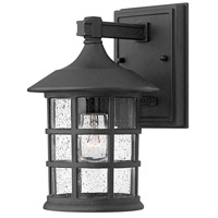 Freeport 1 Light 9 inch Black Outdoor Wall Mount in Incandescent, Clear Seedy Glass