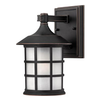 Hinkley 1800OP-GU24 Freeport 1 Light 9 inch Olde Penny Outdoor Wall in Etched Seedy, GU24, Clear Seedy Glass