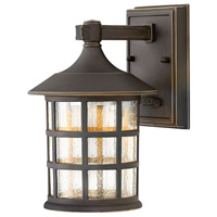 Hinkley 1800OZ-LED Freeport LED 9 inch Oil Rubbed Bronze Outdoor Wall Mount, Clear Seedy Glass