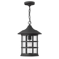 Freeport 1 Light 10 inch Black Outdoor Hanging in Clear Seedy, GU24, Clear Seedy Glass