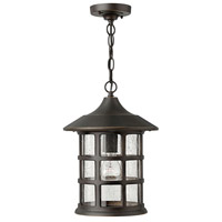 Freeport 1 Light 10 inch Oil Rubbed Bronze Outdoor Hanging Lantern in Clear Seedy, Incandescent