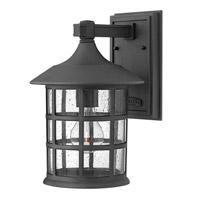 Freeport 1 Light 12 inch Black Outdoor Wall in Clear Seedy, GU24, Clear Seedy Glass