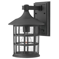 Freeport LED 12 inch Black Outdoor Wall Mount, Clear Seedy Glass