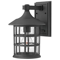 Hinkley 1804BK Freeport 1 Light 12 inch Black Outdoor Wall Mount in Incandescent, Clear Seedy Glass