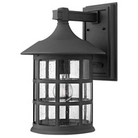 Freeport LED 15 inch Black Outdoor Wall Mount in Clear Seedy, Clear Seedy Glass