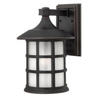 Freeport 1 Light 15 inch Olde Penny Outdoor Wall in Etched Seedy, GU24, Clear Seedy Glass