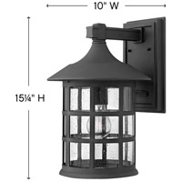 Hinkley 1805BK Freeport 1 Light 15 inch Black Outdoor Wall Mount in Incandescent, Clear Seedy, Clear Seedy Glass alternative photo thumbnail