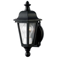Hinkley 1819BK Manor House 1 Light 13 inch Black Outdoor Mini Wall Mount, Clear Beveled Glass