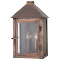 Hinkley 18204AP Thatcher 2 Light 17 inch Antique Copper Outdoor Wall Mount, Clear Glass
